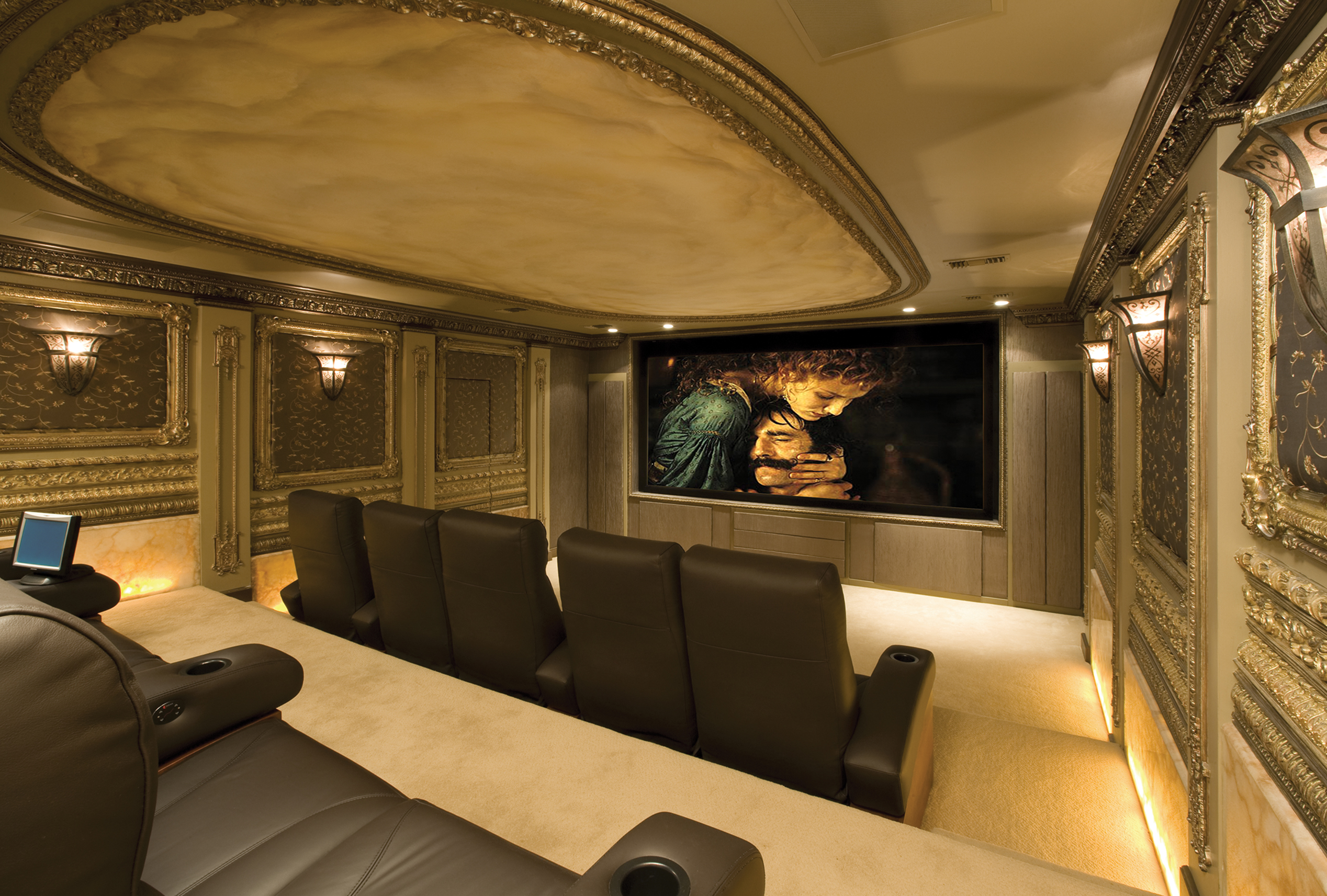 Custom home theaters adome security and home automation for Luxury home theater rooms